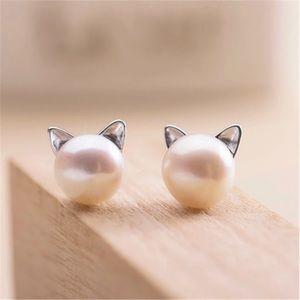 Kitty Cat pearl post earrings NEW